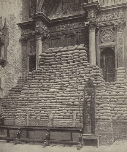 How Venice guarded her art treasures from Austrian aviators. Bricks and sandbags piled over one of the monuments of the Church of Santi Giovanni e Paolo. Illustration for Harper's Pictorial Library of the World War, c 1920.
