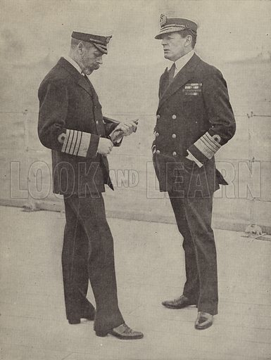 King George V and Admiral David Beatty, commander of the Royal Navy's 1st Battlecruiser Squadron at the Battle of Jutland. Illustration for Harper's Pictorial Library of the World War, c 1920.