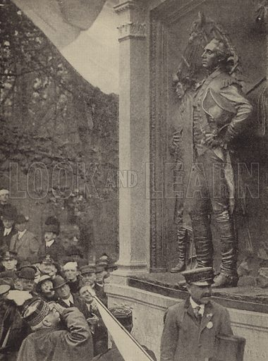 French Field Marshal Joseph Joffre at the unveiling of the statue of the Marquis de Lafayette in Prospect park, Brooklyn, New York, 1917. Illustration for Harper's Pictorial Library of the World War, c 1920.