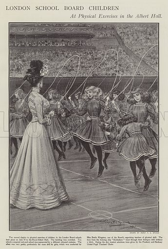 London School Board children at physical exercises in the Albert Hall. Illustration from The Sphere, 20 July 1901.