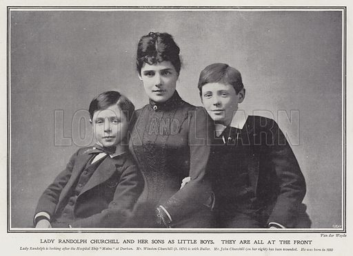 Lady Randolph Churchill and her sons as little boys. Illustration from The Sphere, 3 March 1900.
