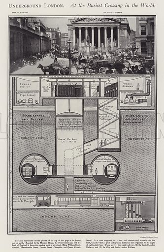 Underground London. At the busiest crossing in the world. Illustration from The Sphere, 21 April 1900.