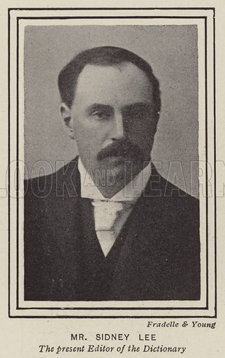 Sidney Lee (1859–1926), editor of the Dictionary of National Biography. Illustration from The Sphere, 30 June 1900.