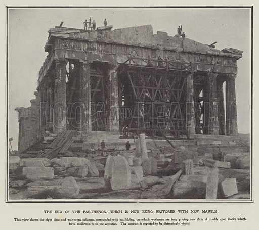 The Parthenon being restored with new marble, Athens. Illustration from The Sphere, 8 December 1900.