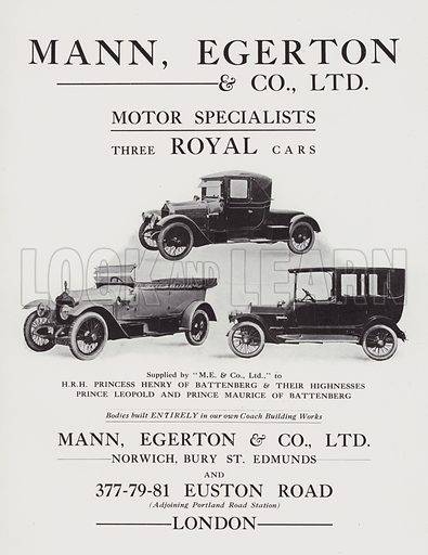 Advertisement for Mann, Egerton & Co, Ltd coach building works. Illustration from The Stock Exchange Christmas Annual 1913-1914 (Gale & Golden Limited, London, Aldershot and Portsmouth, 1913).