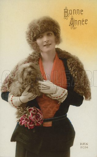 New Year's card. Postcard, early 20th century.
