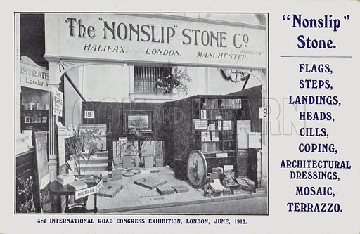 Trade card for the Nonslip Stone Company, 3rd International Road Congress Exhibition, London, June 1913. Postcard, early 20th century.