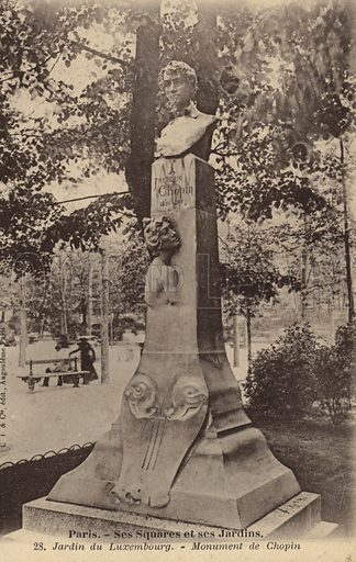 Monument to Frederic Chopin in the Jardin du Luxembourg, Paris