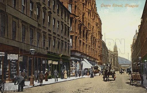Queen Street, Glasgow. Postcard, early 20th century.