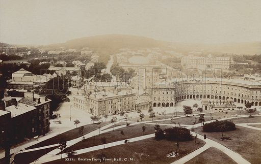 Buxton, Derbyshire, from the Town Hall. Postcard, early 20th century.