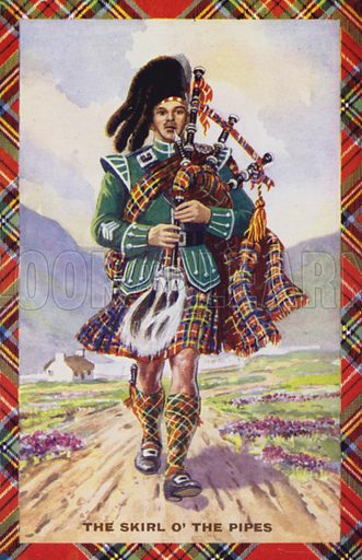 The Skirl of the Pipes. Postcard, early 20th century.