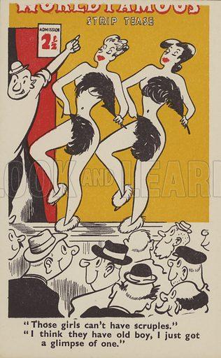 Strip tease dancers. Postcard, early 20th century.