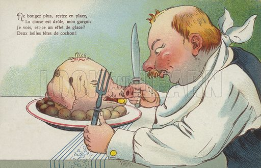 Man about to eat a pig's head. Postcard, early 20th century.