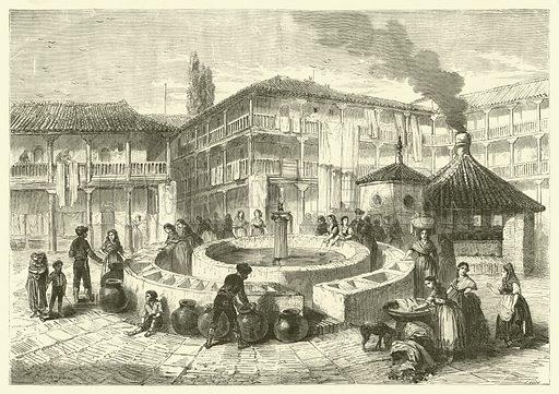 Corral del Conde, Seville, Spain. Illustration from Album du Grand Journal (Imprimerie Auguste Vallee, Paris, 1864).