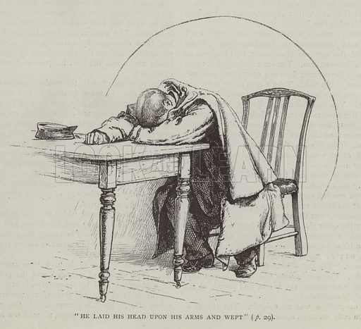 He Laid his Head upon his Arms and Wept. Illustration for Cassell's Family Magazine (Cassell, 1890).