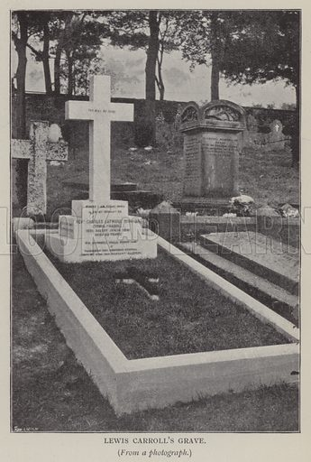 Lewis Carroll's Grave. Illustration for The Life and Letters of Lewis Carroll (Charles Lutwidge Dodgson) by Stuart Dodgson Collingwood (T Fisher Unwin, 1898).