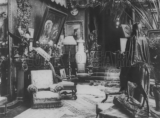 In the Home of Sarah Bernhardt. Illustration for A Paris vers 1900 by Louis Cheronnet (Chroniques du Jour, 1932).