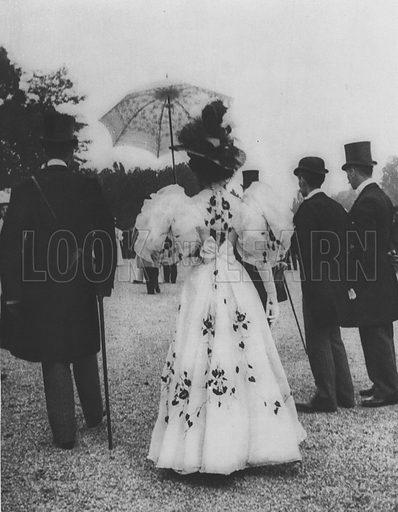 Afternoon Gown for the Races. Illustration for A Paris vers 1900 by Louis Cheronnet (Chroniques du Jour, 1932).