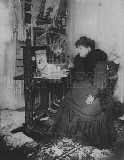 Jeanne Bloch and her Parrot. Illustration for A Paris vers 1900 by Louis Cheronnet (Chroniques du Jour, 1932).