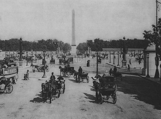 La Place de La Concorde. Illustration for A Paris vers 1900 by Louis Cheronnet (Chroniques du Jour, 1932).