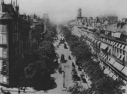 The Grand Boulevards at the Square Druot. Illustration for A Paris vers 1900 by Louis Cheronnet (Chroniques du Jour, 1932).