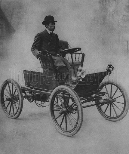 Santos Dumont Driving his Car. Illustration for A Paris vers 1900 by Louis Cheronnet (Chroniques du Jour, 1932).