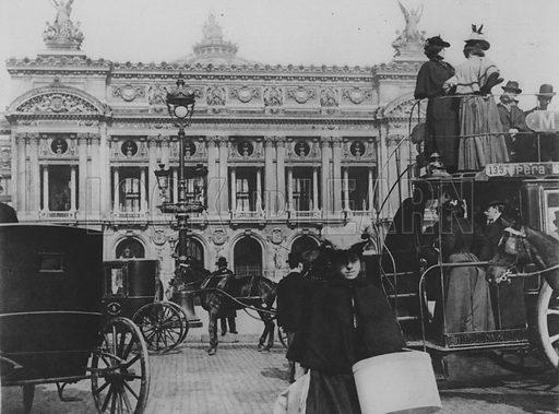 An Omnibus on the Place de L'Opera. Illustration for A Paris vers 1900 by Louis Cheronnet (Chroniques du Jour, 1932).