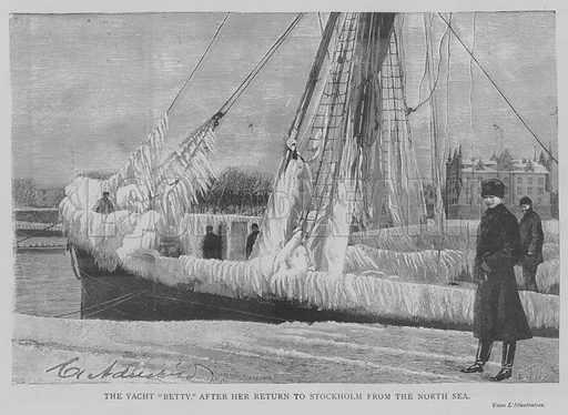 """The Yacht """"Betty,"""" after her Return to Stockholm from the North Sea. Illustration for The Picture Magazine, 1893."""