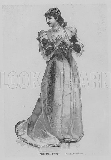 Adelina Patti. Illustration for The Picture Magazine, 1893.