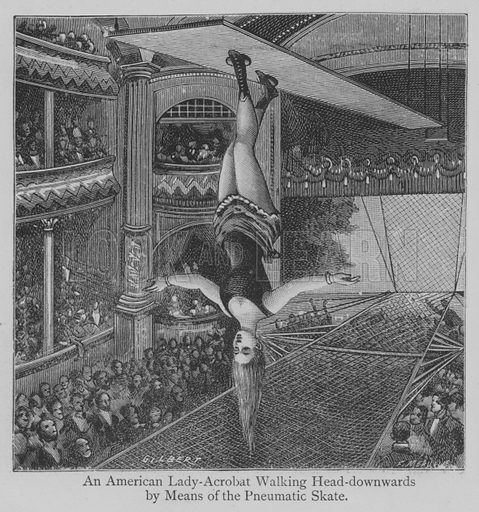 An American Lady-Acrobat Walking Head-downwards by Means of the Pneumatic Skate. Illustration for The Picture Magazine, 1893.