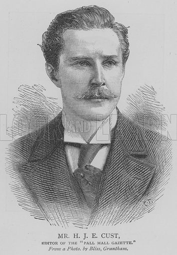 """Mr HJE Cust, Editor of the """"Pall Mall Gazette"""". Illustration for The Picture Magazine, 1893."""