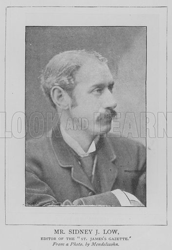 """Mr Sidney J Low, Editor of the """"St James's Gazette"""". Illustration for The Picture Magazine, 1893."""