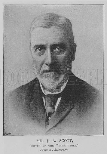 "Mr JA Scott, Editor of the ""Irish Times"". Illustration for The Picture Magazine, 1893."