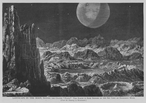"""Landscape in the Moon, Showing the Crater """"Plato"""", the Earth is Seen Shining in the Sky Like an Enormous Moon. Illustration for The Picture Magazine, 1893."""