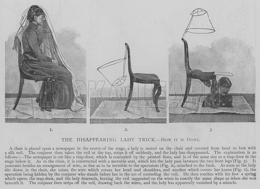 The Disappearing Lady Trick, how it is Done. Illustration for The Picture Magazine, 1893.