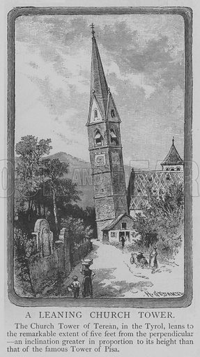 A Leaning Church Tower. Illustration for The Picture Magazine, 1893.