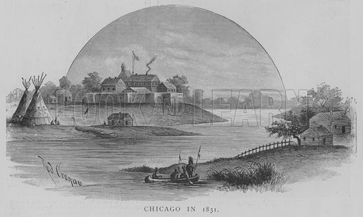 Chicago in 1831. Illustration for The Picture Magazine, 1893.