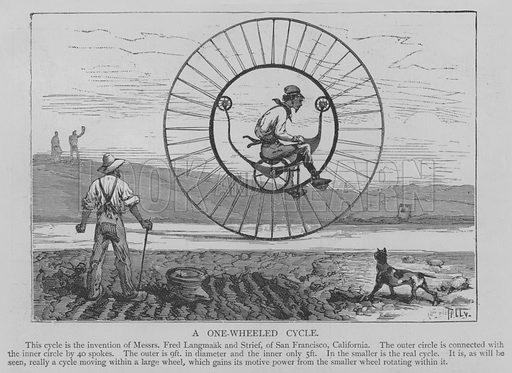 A One-Wheeled Cycle. Illustration for The Picture Magazine, 1893.