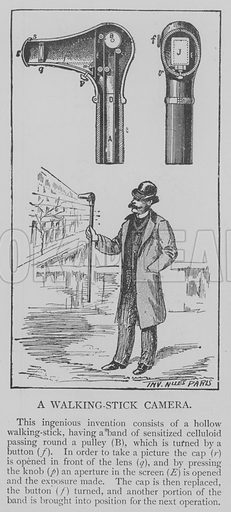 A Walking-Stick Camera. Illustration for The Picture Magazine, 1893.