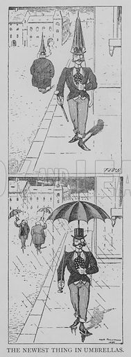 The Newest Thing in Umbrellas. Illustration for The Picture Magazine, 1893.