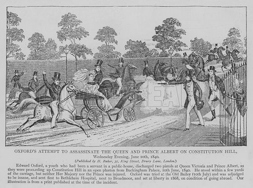 Oxford's Attempt to Assassinate the Queen and Prince Albert on Constitution Hill, Wednesday Evening, June 10th, 1840. Illustration for The Picture Magazine, 1894.