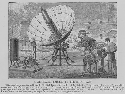 A Newspaper Printed by the Sun's Rays. Illustration for The Picture Magazine, 1894.