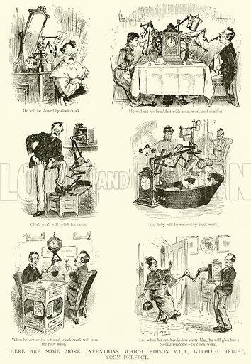 Here are some more Inventions which Edison Will, without Doubt, Soon Perfect. Illustration for The Picture Magazine, 1894.