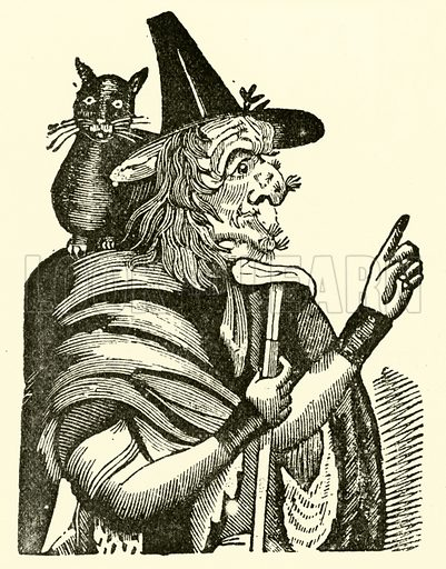 Witch with black cat on her shoulder. Illustration for The Picture Magazine, 1894.