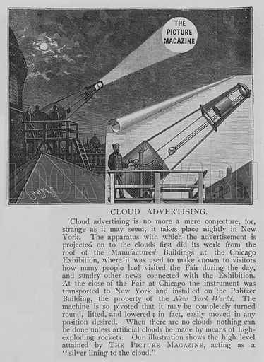 Cloud Advertising. Illustration for The Picture Magazine, 1894.