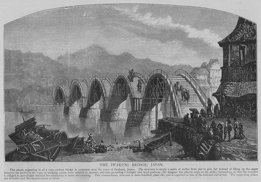 The Iwakuni Bridge, Japan. Illustration for The Picture Magazine, 1894.