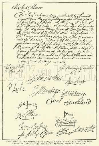Facsimile of the Order of the Council of State Proclaiming Oliver Cromwell Protector, Singed by Several Eminent Persons. Illustration for The Picture Magazine, 1895.