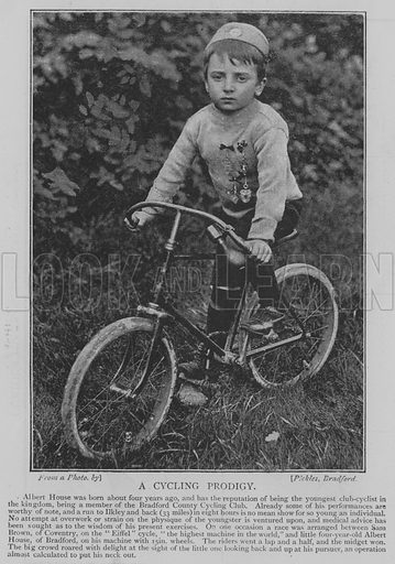 A Cycling Prodigy. Illustration for The Picture Magazine, 1895.