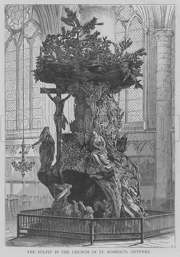 The Pulpit in the Church of St Rombaud, Antwerp. Illustration for The Picture Magazine, 1895.