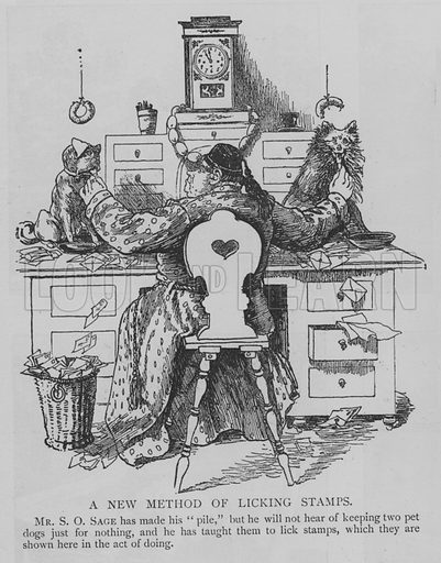 A New Method of Licking Stamps. Illustration for The Picture Magazine, 1895.